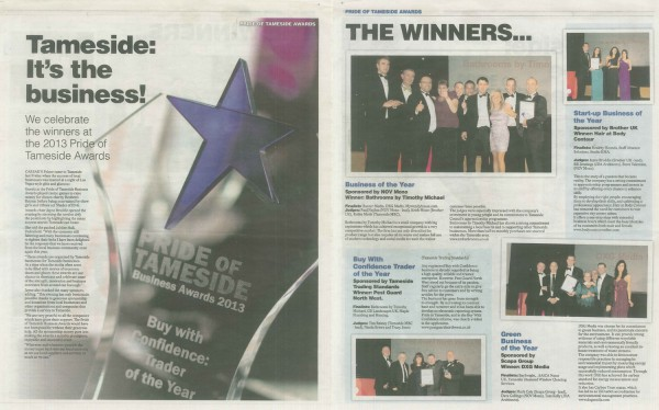 Tameside Advertiser article Pride of Tameside award